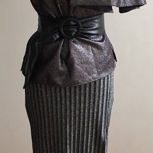 H&M Midi High Waisted Silver Women's Skirt Size Sm